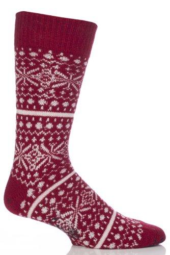 Herren 1 Paar Corgi Lambswool und Angora-Socken Farisle Rot L (Angora Lambswool)