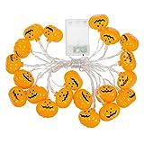 Techgomade 20LED Lampes de citrouille d'Halloween, LED Blanc chaud lumières décoratives, 5m, 1,5W, deux modes d'utilisation, batterie, puissance, Guirlande de lumières pour festival, fête, Halloween, décoration de Noël