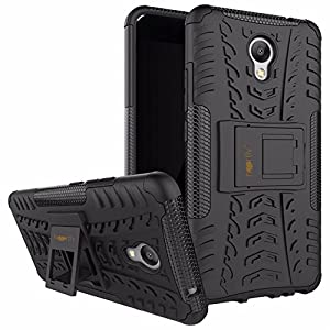 Heartly Meizu M5 Note Back Cover Kick Stand Rugged Shockproof Tough Hybrid Armor Dual Layer Bumper Case - Matte Black