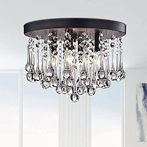 Saint Mossi Modern K9 Crystal Raindrop Chandelier Lighting Flush mount LED Ceiling Light Fixture Pendant Lamp for Dining Room Bathroom Bedroom Livingroom 3 E14 Bulbs Required Height 23cm Diameter