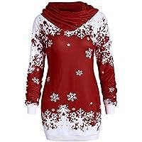 LILICAT☃ Moda Mujer Feliz Navidad Copo de Nieve Impreso Tops Cuello Capucha Sudadera Blusa Bufanda Copo de Nieve Impresión de suéter de Navidad (Vino, Azul, Púrpura)