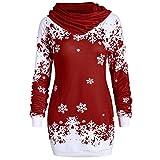 OSYARD Weihnachts Pullover Kleid Slim Fit Christmas Sweatshirt Damen, Mode Frauen Langarmshirt Frohe Weihnachten Snowflake Printing Tops Cowl Neck Strickpullover Lang Bluse Shirt(2XL, X1-Wein)
