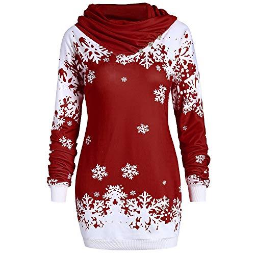Fenverk Damen Weihnachten Pullover Langarmshirt Santa Claus Druck Sweatshirt Kleid Womens Schneeflocke Print Plus Size Tunika Sweatjacke Eine Snowflake Hoodie Oberteile Kapuzenpullover (Wein 2,M)