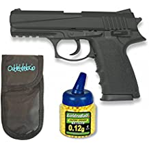 Outletdelocio. Pistola airsoft HA126 negra metálica. Calibre 6mm. + Funda portabalines + Biberon 1000 bolas