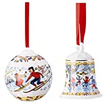 Hutschenreuther 1814 Weihnachtsglöckchen und Weihnachtskugel Porzellan Winterfreuden im 2er Set