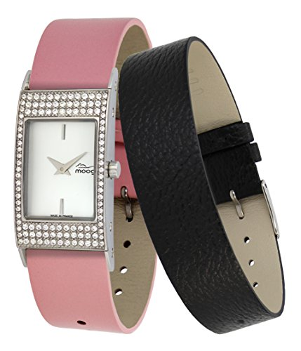 Moog Paris Vogue Women's Watch with White Dial, Pink Genuine Leather Strap & Swarovski Elements - M44262-403