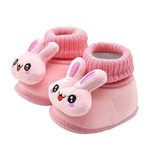 FEITONG Kleinkind Säugling Baby Karikatur Kaninchen schuhe Weiche Sohle Prewalker warme Stiefel (0 ~ 6 Monate, Rosa)
