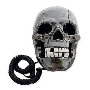 Téléphone filaire fixe tête de mort lumineuse gris métal