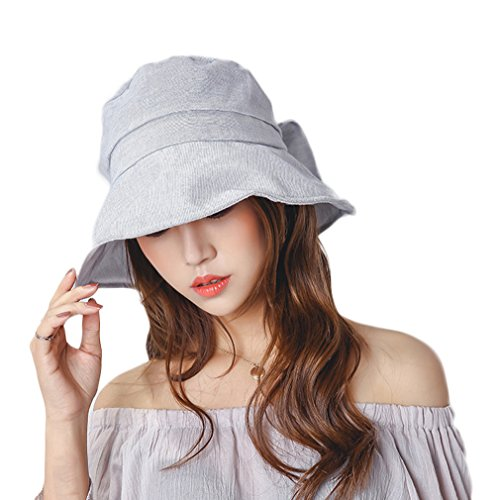 Nanxson(TM) Chapeau De Soleil Bob Uni En Coton Avec Nœud Pour Femme MZW0105 gris clair