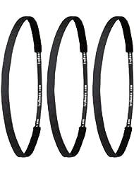 ivybands®–| Gentlemens Edition | le antidérapant Bandeau cheveux Bandeau–Lot de 3–Noir Super Thin, (Largeur 1cm) 3x ivy003