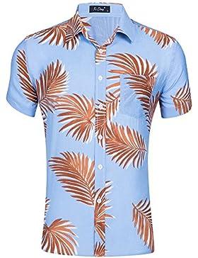 WDFZ Hombre Verano Impresión T-Shirt Casual Playa Manga Corta Camisa De Algodón