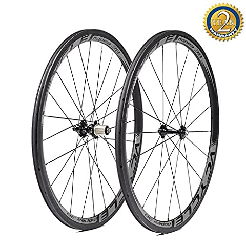 VCYCLE Nopea 700C Carbon Rennrad 38mm Laufradsatz Drahtreifen 25mm Breite Shimano oder Sram 8/9/10/11 Speed