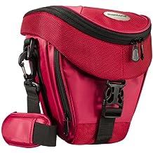 Mantona Premium - Funda para cámara reflex (correa para hombro, cierre de cremallera y clip), color rojo