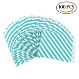 CCINEE 100 Pieces 5 x 7 Inches Candy Stripe Paper Bags Candy Paper Bags Party Favor Bags,Green
