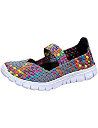 Mujeres Tejer Malla Elástico Transpirable Zapatos de Agua Zapatillas Respirable Ultraligero Deportivo Playa Zapatos Mujer