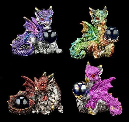 Fantasy Drachen Figuren 4er Set - Der Schatz   Dekoartikel, Handbemalt