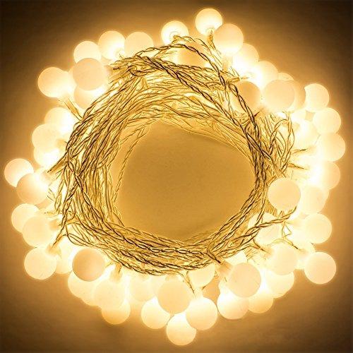 Luci di natale,bukm 50 led ball luci della stringa 5m luce impermeabile di natale bianco caldo led luci decorative uso per interni / esterni cortile, albero di natale, feste,natale, anno nuovo, matrimonio, bar, caffè