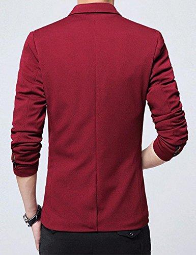 Busyall Herren Sakko Blazer Jacke Anzugjacke Slim Fit Freizeit Rot