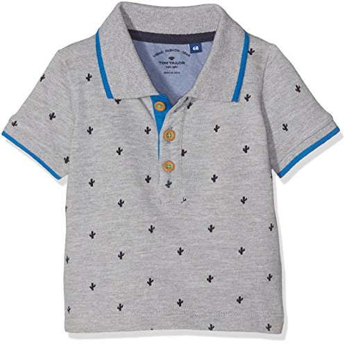 TOM TAILOR Kids Baby-Jungen Poloshirt Piqué Polo With Print Grau (Medium Grey Melange 2482), 80 (Pique Polo Ein Kind)