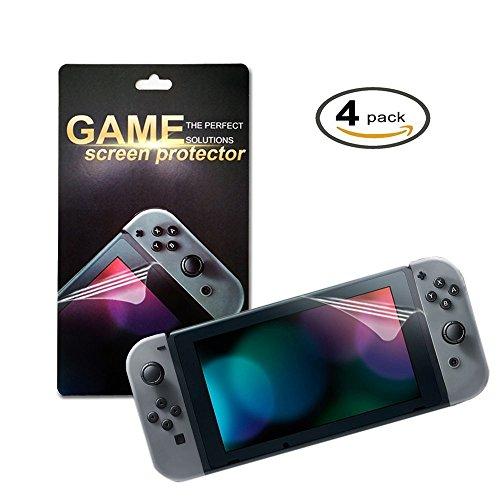 Nintendo Switch Protector de Pantalla, Morbuy HD PET Film Transparente Ultra-trasparente Anti-golpe Ajuste Perfecto No hay Burbujas Protector Pantalla Screen Protector para Nintendo Switch (4 Pack)