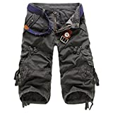ZKOO Kurzen Hosen Cargo Shorts Herren Sommer Kurze Hose Bermuda Shorts Baumwolle Outdoor Shorts mit Multi-Tasche Dunkel Grau