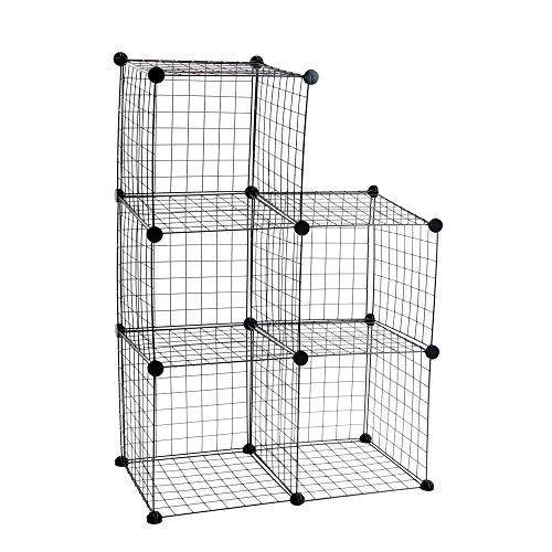 PrimeMatik - Armario Organizador Modular Estanterías de 5 Cubos de 35x35cm Metal Negro
