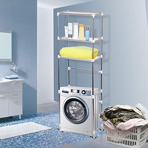 3-stöckiges Badezimmerregal über dem WC-Lagerung, Ablageregal über Toilette/Badezimmer/Wäsche/Waschmaschinen-Regal, Organizer 68 x 28 x 165 cm