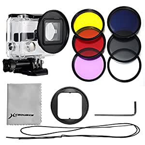 XCSOURCE Pro kit Filtre de 6PCS Filtres du couleur (UV + CPL + ND4 + Rose + Violet + jaune)+ Adaptateur pour filtre 52mm + housse Rose pour fitre + Chiffon de nettoyage d'objectif pour Gopro Hero 3+/Hero 3 Plus LF362