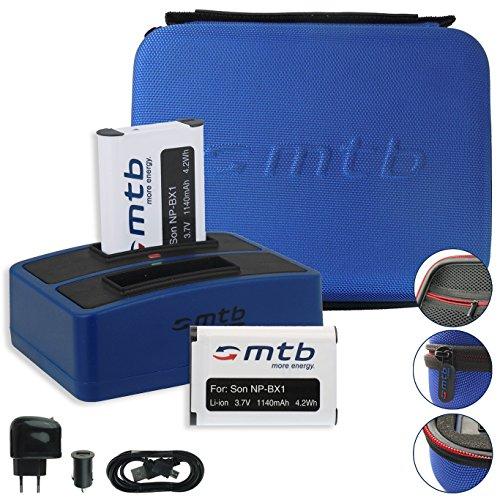 SPARSET: mtb more energy® Schutztasche XL blau + 2X Akku + Dual-Ladegerät für Sony Action Cams FDR-X1000VR, X3000R / HDR-AS300(R), AS200V, AS100V, AS50. - s. Liste! -