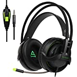[2017 nuovo aggiornato Gaming Headset] Supsoo SU810 multi-platform cuffie da gioco con Mic 3.5 mm jack In-line volume over-ear cuffie Gaming per nuovi Xbox One/PC/MAC/PS4/smartphone (nero)