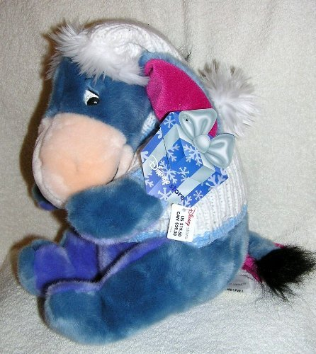 Disney 12 Plush Eeyore in White Knit Snowflake Sweater & Hat from Winnie the Pooh by Disney -