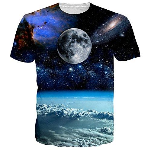 Bfustyle Unisex beiläufige Galaxy 3D-Druck HipsterStyle Kurzarm T-Shirt T-Stück - Junioren Tie Dye