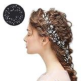 YHmall 100cm Bandeaux Mariage Bijoux Cheveux Chaîne Headband en Perles Cristal pour Femme Accessoire Mariage Soirée Anniversaire Décoration Ornements de Cheveux