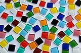 100 Stück (ca. 195g) Glas Mosaiksteine (Softglas) Buntmix a 1,5x1,5cm.