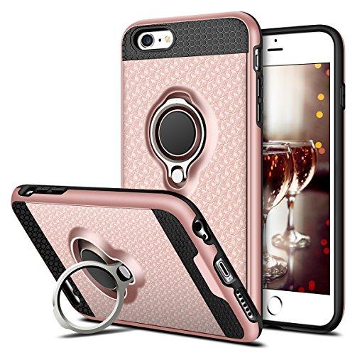 e, Coolden® Premium Handyhülle mit Ring Fingerhalterung 360 Grad Drehbarer Ständer Anti-Scratch 3D Muster Cover Dual Layer Bumper Stoßfest Schutzhülle für iPhone 6s Plus(Rosa) ()