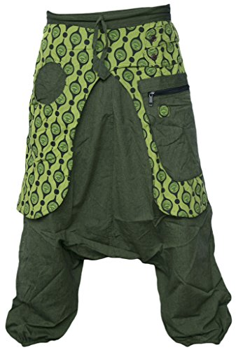LITTLE KATHMANDU Herren Aladdin Genie Ausgebeult Drpo Crotch Harem Stilvoll Eye Hosen Trousers Pant Green Small