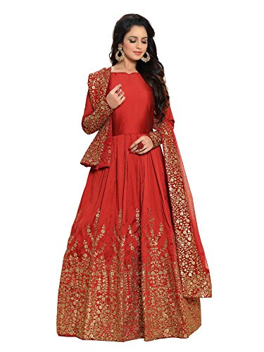 Ethnic yard Women's Silk Dress Material (1075_Free Size_Red)