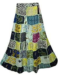 66ec98039 Mogul Interior Ladies Gypsy Boho Ethnic Patchwork Skirt Swirl Style Rayon  Vintage Banjara Maxi Skirts S