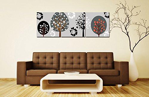 LB ein Satz von 3 Stück Ölgemälde Druck auf Leinwand-bunte Bäume des Lebens-abstrakte moderne Kunstwerke für Room Decor/Geschenke/Urlaub 40cm*40cm gestreckt und gerahmt (Eigentumswohnung Baum, Haus,)