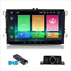 Android 8.0 Car Stereo Double 2 Din 9 Inch Capacitive Touch Screen IPS Panel GPS Navigation System for VW VOLKSVAGEN Golf Passat Tiguan Polo Jetta Skoda Seat Octa-core 4G RAM 32G ROM