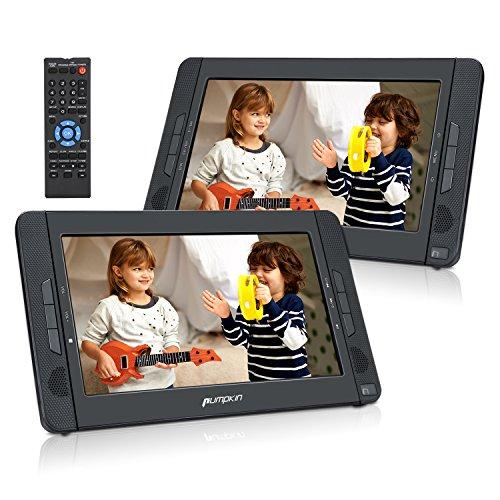 PUMPKIN Lecteur DVD Portable Voiture Double Ecran d'appuie-tête pour Enfant 10,1 Pouce supporte USB SD MMC Autonomie de 5 Heures avec Sangle de Fixation dans...