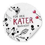 24 Aufkleber Für den KATER danach! - Party Survival Kit Sticker, PINK SCHWARZ, für Gastgeschenke zur Hochzeit, Geburtstag, Party, MATTE Papieraufkleber für eure Hochzeitsfeier