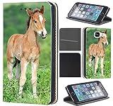 Samsung Galaxy S4 Mini Hülle von CoverHeld Premium Flipcover Schutzhülle Flip Case Motiv (1531 Fohlen Pferd Tier Braun)