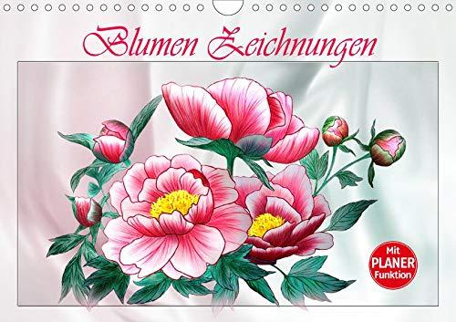 Blumen-Zeichnungen (Wandkalender 2020 DIN A4 quer): Blumenzeichnungen mit Aquarell-Buntstiften (Geburtstagskalender, 14 Seiten ) (CALVENDO Kunst)