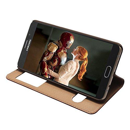 GALAXY A9 2016 Hülle,EVERGREENBUYING - Flip Case Etui Handyhülle Für SM-A9000 mit Sichtfenster - Aufklappbare Echtes Leder Schutzhülle im Flip Cover Style für Samsung Galaxy A9 (2016) Schwarz Rosa