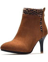 Easemax Damen Sexy Spitze Zehe Kurzschaft Nubuk Strass Leoparden Muster Stiefel Schwarz 38 EU