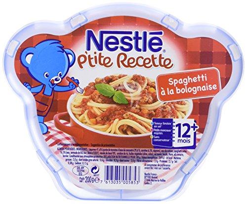 Nestlé Bébé P'tite Recette Spaghetti à la Bolognaise Assiette dès 12 mois 200g - Lot de 6