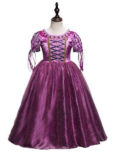 leid Kostüm Prinzessin Kinder Glanz Kleid Mädchen Weihnachten Verkleidung Karneval Party Halloween Fest 120cm (Halloween-kostüme Rapunzel)