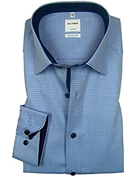 OLYMP Luxor Comfort fit Hemd grau gemustert 0533-64-11 Langarm Patch dunkelblau