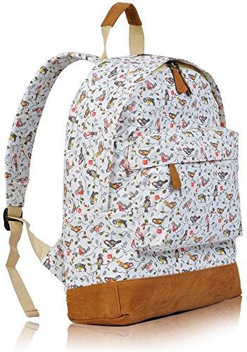 Kukubird Multi-Design 2 einzelne Tasche Rucksack - FLOWER PINK SBIRD WHITE